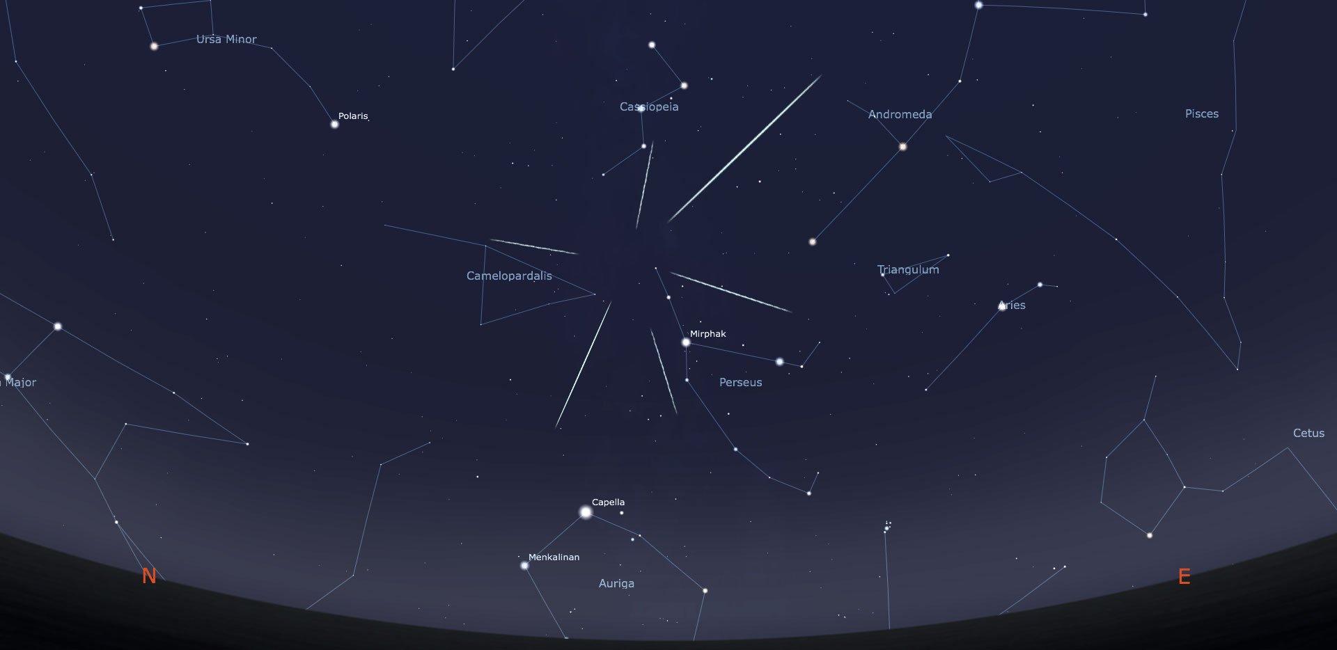 Il radiante delle meteore Perseidi, le stelle cadenti di Agosto