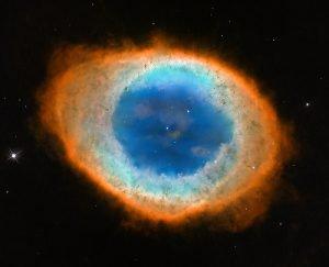 nebulosa anello arancio blu