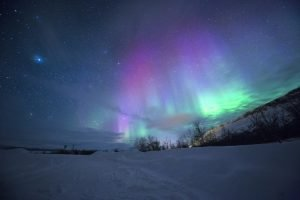 aurora boreale neve