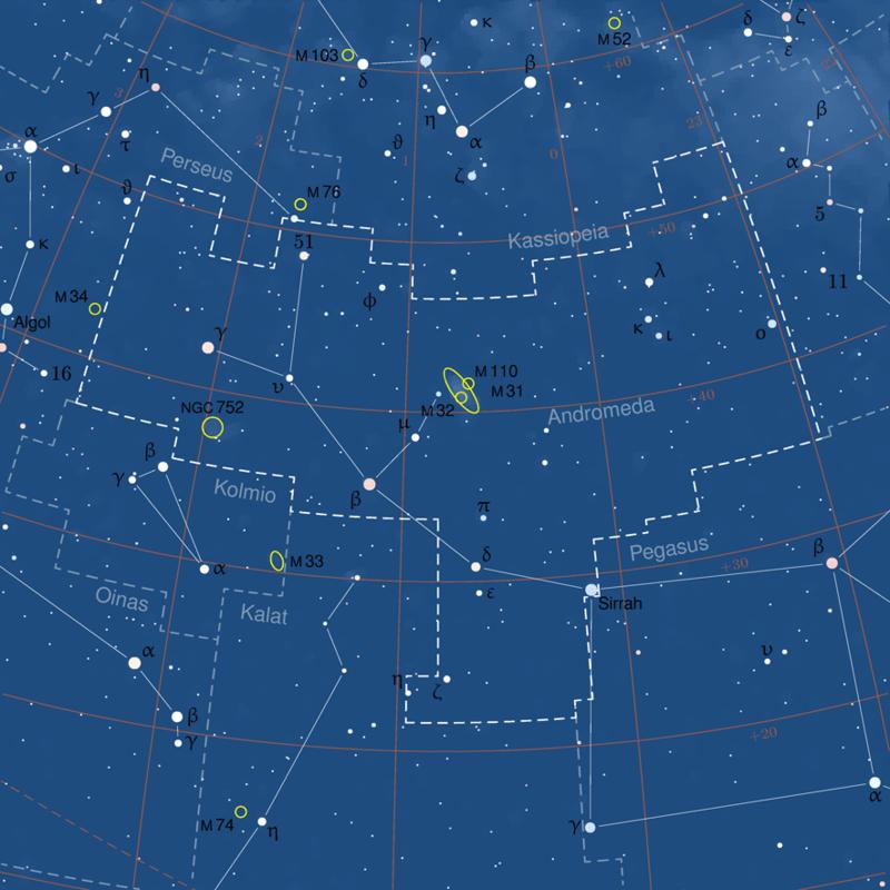 mappa cielo m31