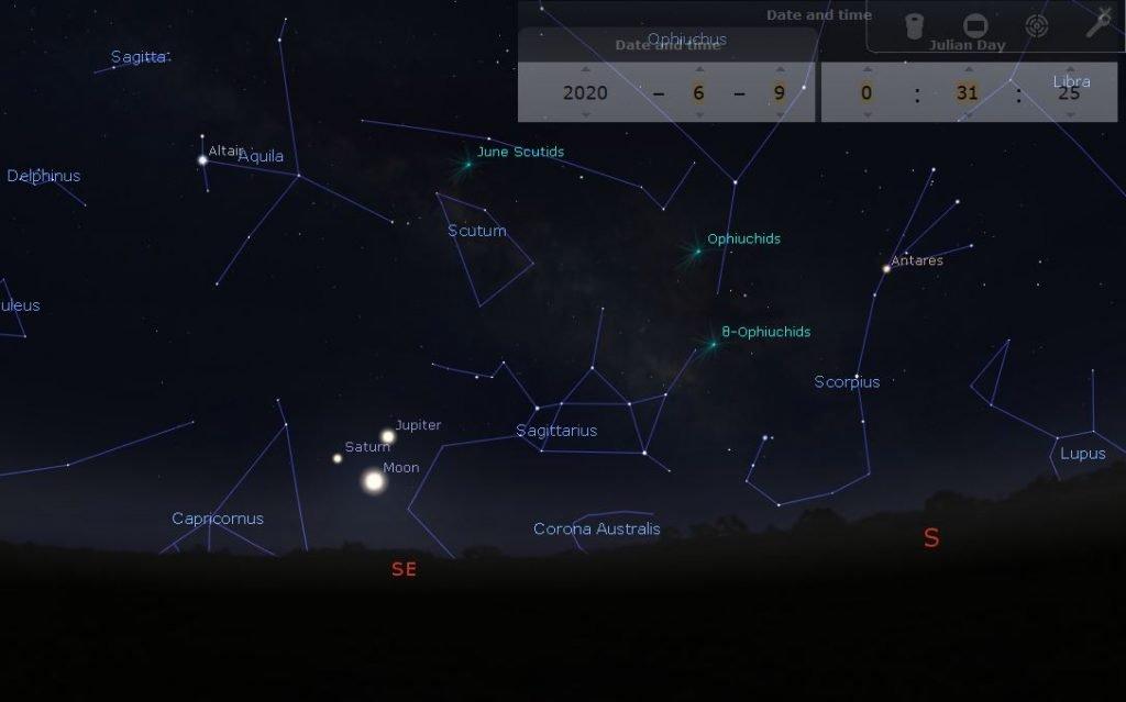 Cielo del mese di Giugno: la notte del 9 triangolazione Giove Saturno Luna