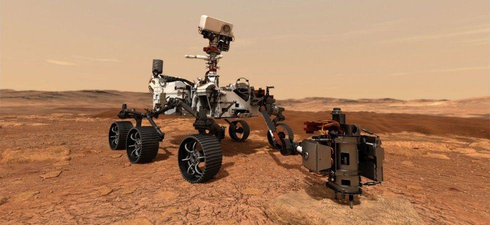 Rover Perseverance su Marte - simulazione foto NASA