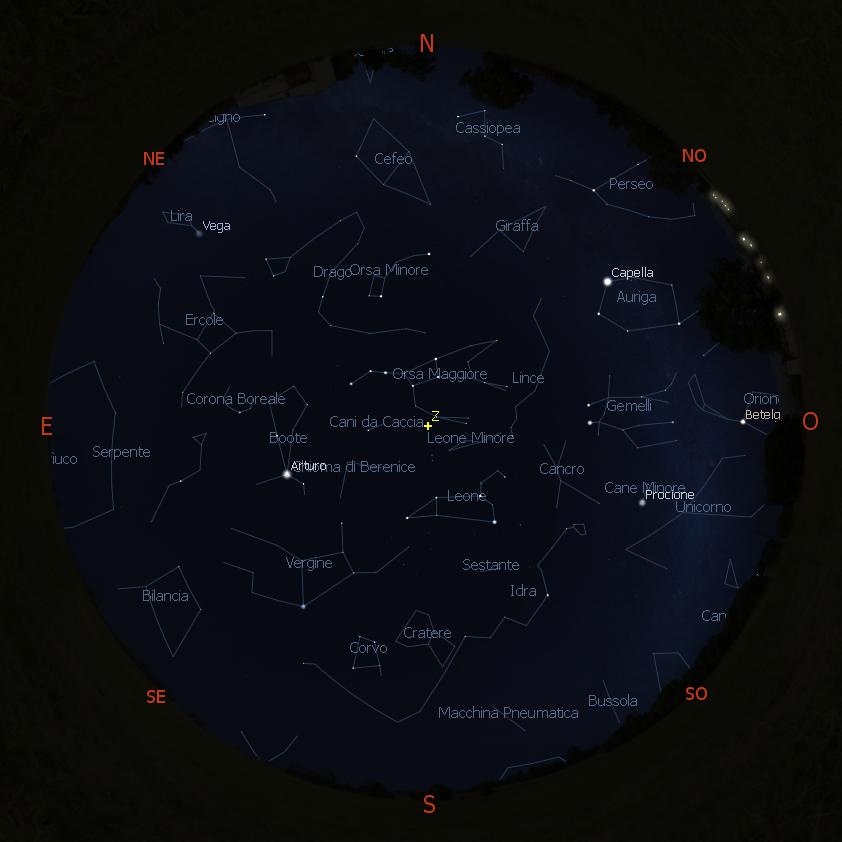cielo di marzo 2021 - Roma, 00:00, Stellarium Astronomy Software